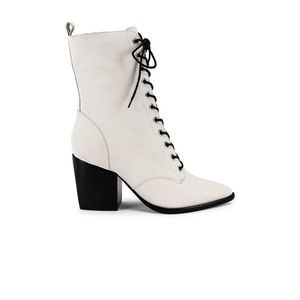 Schutz Lace Up Boot Pearl Leather Lace Up Side Zip